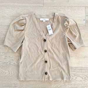 Loft puff sleeve ribbed cardigan top tan small